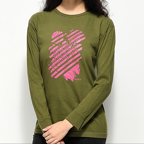 c2346335aec6 NWT Obey Rose Long Sleeve Top Tee Shirt